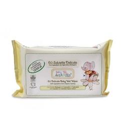 Biodegradowalne, kompostowalne chusteczki do pielęgnacji skóry dziecka, z rumiankiem i nagietkiem, 60 szt.
