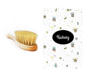 Szczotka z naturalnego włosia w zestawie z muślinową myjką Kucharz