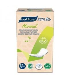 Biodegradowalne wkładki higieniczne z bawełny organicznej, 100% BIO, 26 sztuk, Vuokkoset