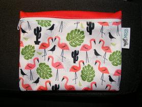Saszetka wielorazowa  z PUL, Flamingi, MRB wielorazowo dla dzieci i kobiet