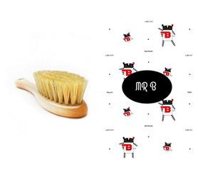 Szczotka z naturalnego włosia w zestawie z muślinową myjką Mr B