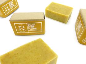 Mydło peelingujące - Melisa i Dynia, 110 g, Cztery Szpaki