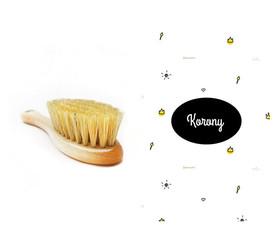 Szczotka z naturalnego włosia w zestawie z muślinową myjką Korony