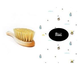 Szczotka z naturalnego włosia w zestawie z muślinową myjką Miód