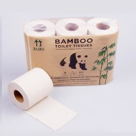 Papier toaletowy z bambusa, niebielony, 6 rolek