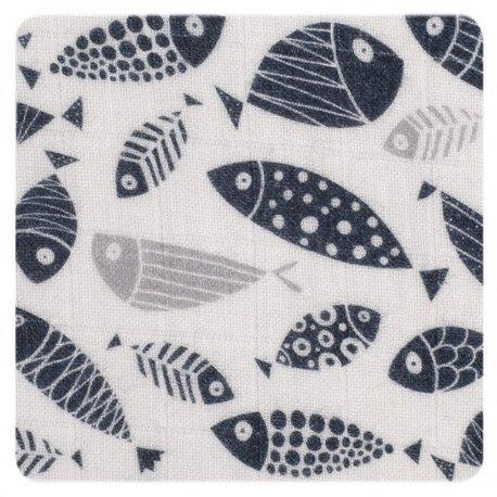Muślinowy otulacz, 120x120 - Silver Fish