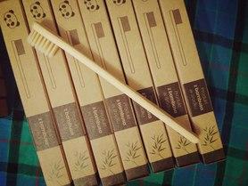 Szczoteczka do zębów, bambusowa, dla dzieci, kolor włosia: beżowy