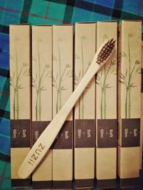 Szczoteczka do zębów, bambusowa, dla dzieci, kolor włosia: brązowy