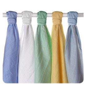 Pieluszki muślinowe Stare Czasy z bawełny organicznej 70x70 - 5 Szt. Pastele chłopięce