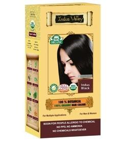 Ziołowa farba do włosów siwych z henną, INDYJSKA CZERŃ, 100% ekologiczna, CERTYFIKOWANA ECOCERT, VEGE, HALAL, 198g, Indus Valley
