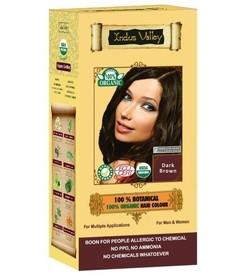 Ziołowa farba do włosów siwych z henną, CIEMNY BRĄZ, 100% ekologiczna, CERTYFIKOWANA ECOCERT, VEGE, HALAL, 198g, Indus Valley