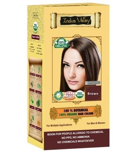 Ziołowa farba do włosów siwych z henną, BRĄZ, 100% ekologiczna, CERTYFIKOWANA ECOCERT, VEGE, HALAL, 198g, Indus Valley (1)