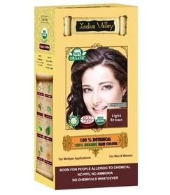 Ziołowa farba do włosów siwych z henną, JASNY BRĄZ, 100% ekologiczna, CERTYFIKOWANA ECOCERT, VEGE, HALAL, 198g, Indus Valley