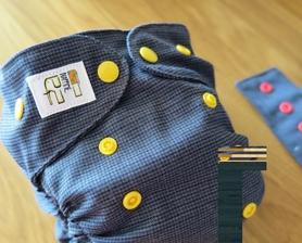 Otulacz wełniany OS, niebieska kratka/pepitka z żółtymi napami, Nappime