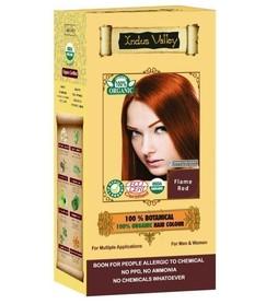 Ziołowa farba do włosów siwych z henną, PŁOMIENNY RUDY, 100% ekologiczna, CERTYFIKOWANA ECOCERT, VEGE, HALAL, 198g, Indus Valley
