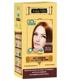 Ziołowa farba do włosów siwych z henną, ORZECHOWY BLOND, 100% ekologiczna, CERTYFIKOWANA ECOCERT, VEGE, HALAL, 198g, Indus Valley