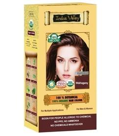 Ziołowa farba do włosów siwych z henną, MAHOŃ, 100% ekologiczna, CERTYFIKOWANA ECOCERT, VEGE, HALAL, 198g, Indus Valley