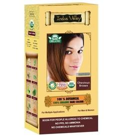 Ziołowa farba do włosów siwych z henną, KASZTANOWY BRĄZ, 100% ekologiczna, CERTYFIKOWANA ECOCERT, VEGE, HALAL, 198g, Indus Valley