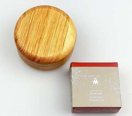 Drewniany tygiel dębowy+ mydło do golenia MÜHLE - rokitnik (1)