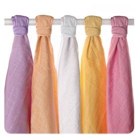 Pieluszki muślinowe Stare Czasy z bawełny organicznej 70x70 - 5 Szt. Pastele dziewczęce