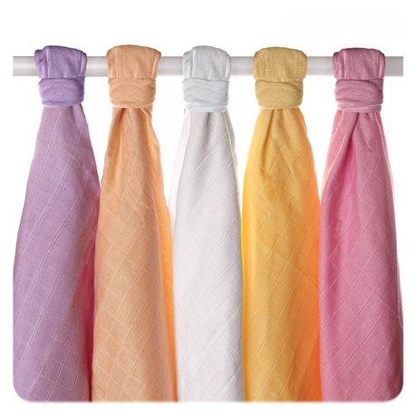 Pieluszki muślinowe Stare Czasy z bawełny organicznej 70x70 - 5 Szt. Pastele dziewczęce (1)