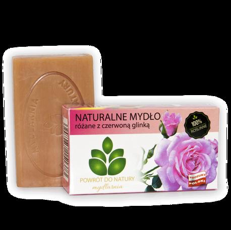 Naturalne mydło różane z czerwoną glinką, 100 g, Powrót do natury (1)