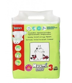 Pieluszki ekologiczne, jednorazowe, (3) MIDI 5-8 kg 50 szt EKO, MUUMI