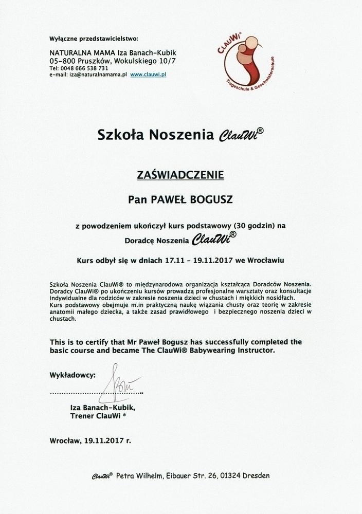 Certyfikat poświadczający kompetencje w zakresie noszenia w chustach i nosidłach miękkich