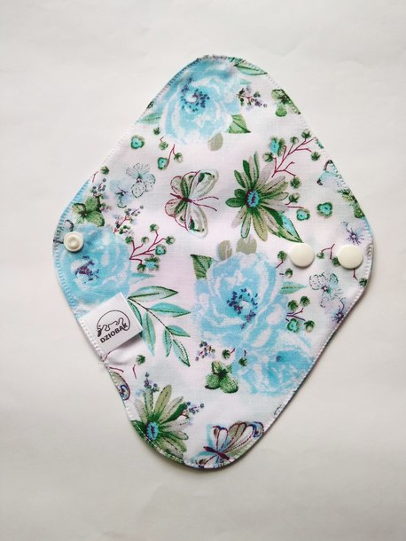 Wkładka higieniczna, wielorazowa, rozm. S, Niebieskie kwiatki, Dziobak (1)