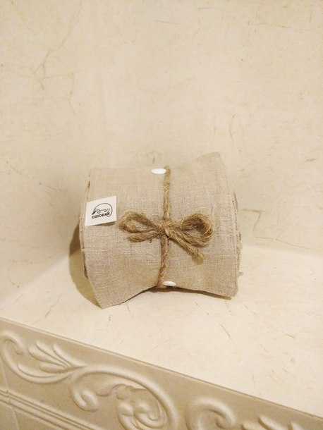 Wielorazowy papier toaletowy/pakiet myjek, Len naturalny, Dziobak (4)