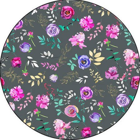 Podpaska wielorazowa MIDI, Kwiatki na szarym/welur, KoKoSi (2)