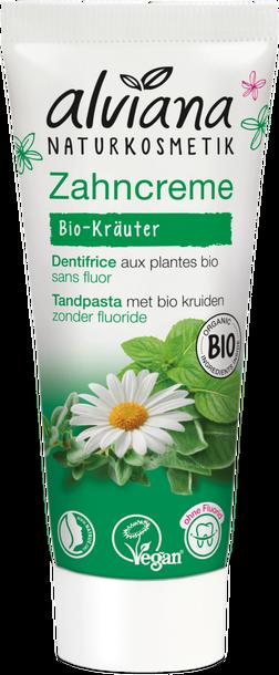 Pasta do zębów z BIO ziołami i BIO rumiankiem bez fluoru 75ml, Alviana (1)