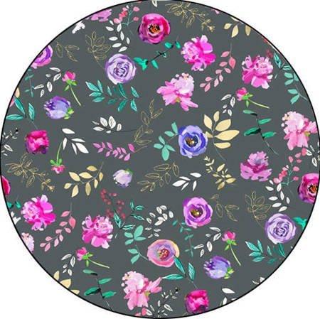Podpaska wielorazowa MAXI, Kwiatki na szarym/welur czerwony, KoKoSi (2)