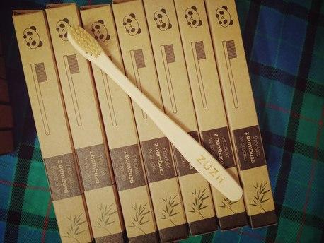 Szczoteczka do zębów, bambusowa, dla dzieci, kolor włosia: beżowy (2)