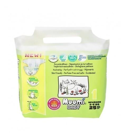 Pieluszki ekologiczne, jednorazowe, (1) NEWBORN 2-5 kg 25 szt EKO, MUUMI (1)
