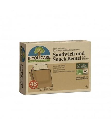Papierowe torebki na kanapki i przekąski, kompostowalne, 48 sztuk (1)
